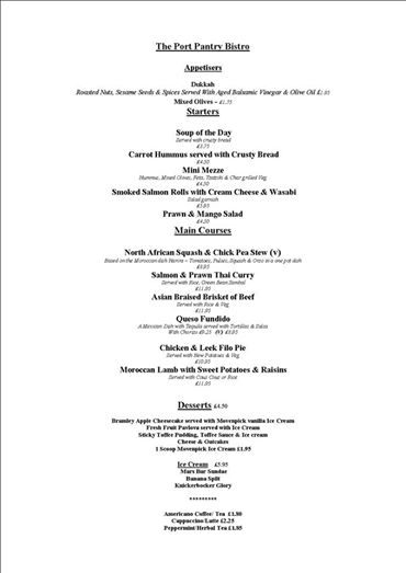 portpatrick port pantry sample menu